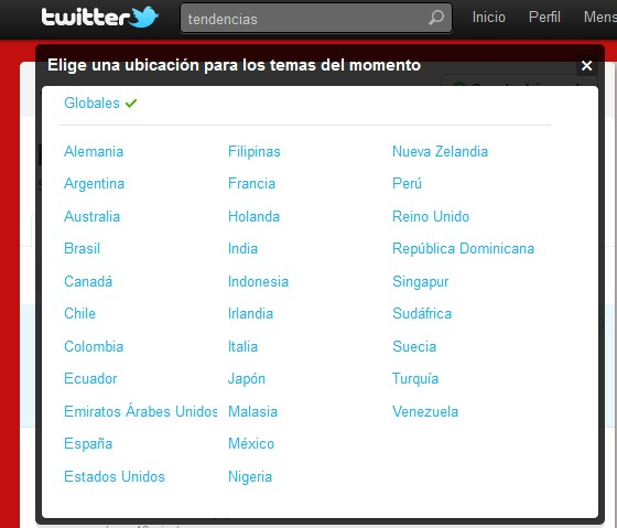 Twitter tendencias (Trends)