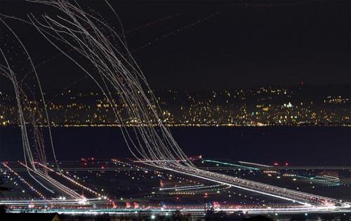 Aeropuerto en larga exposicion