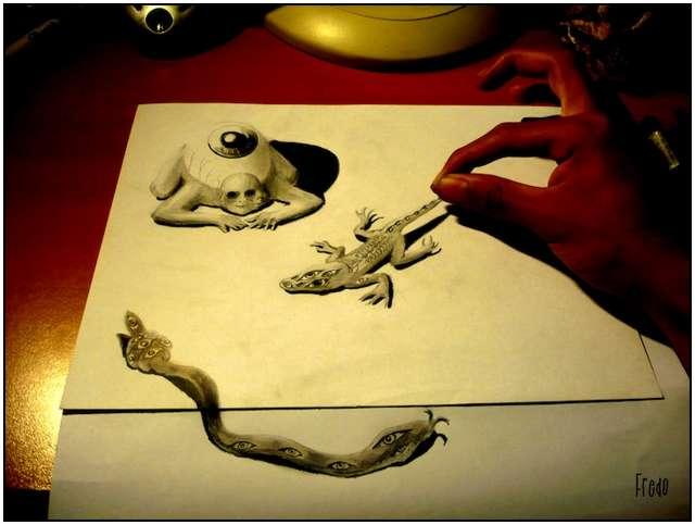 Dibujos 3D a lápiz hechos por un muchacho de 17 años