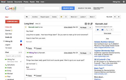 Gmail nueva interfaz de usuario Dense 2