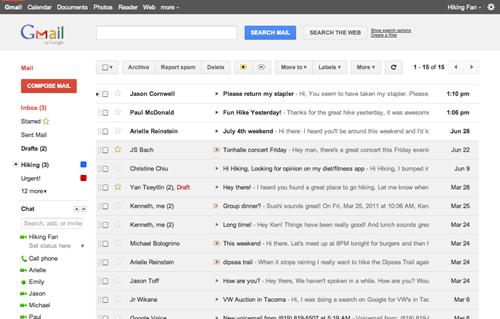 Gmail nueva interfaz de usuario Dense