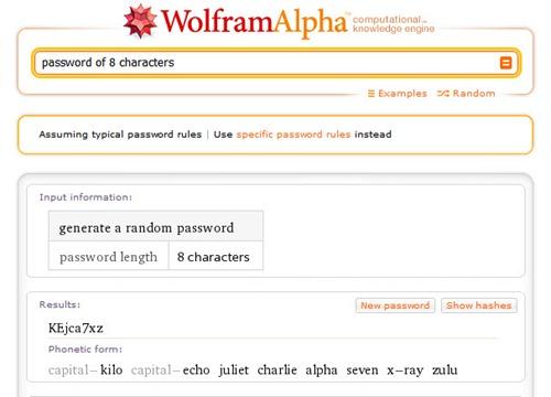 Contraseñas seguras con Wolfram Alpha