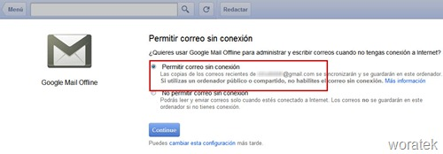 Gmail sin conexion a internet 3