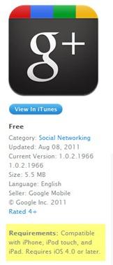 Google Plus para iPad iPod