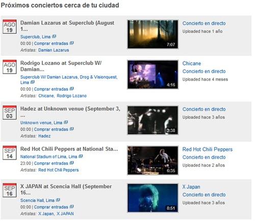 YouTube Music conciertos