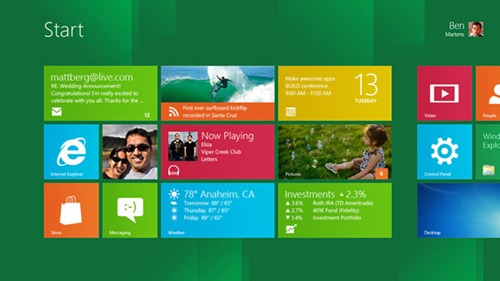 Windows 8 pantalla de inicio