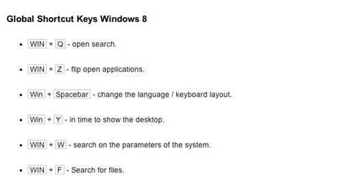 shortcuts windows 8