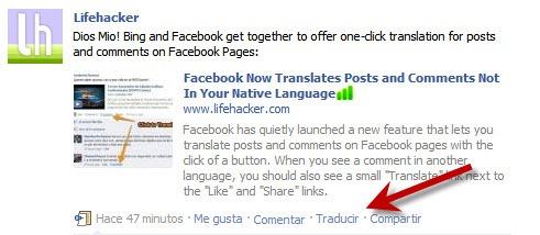 Herramienta de traduccion de Facebook