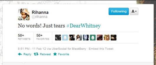 whitney Houston 1 mensaje Rihanna