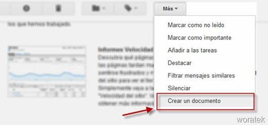 Crear documentos con correos electrónicos de Gmail 2
