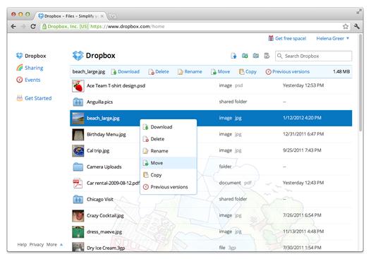 Dropbox menu contextual con clic derecho