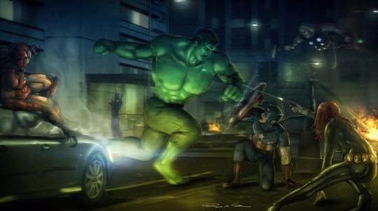 Luchando The-Avengers con Hulk