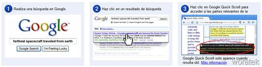 Google Quick Scroll extensión