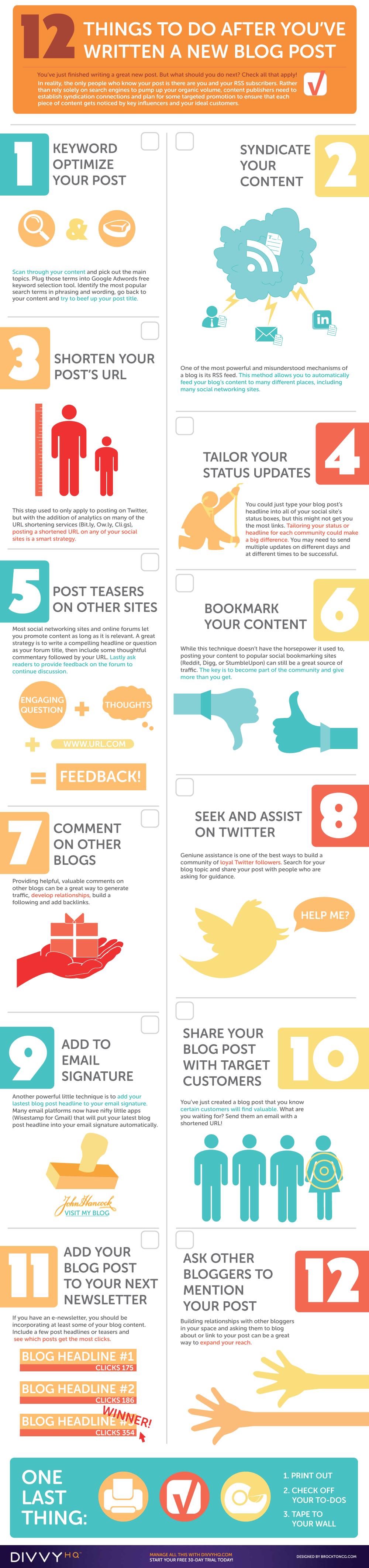 12 cosas que debes hacer después de haber escrito una entrada / artículo en tu blog