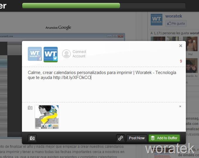Programar tweets y actualizaciones de Facebook con Buffer