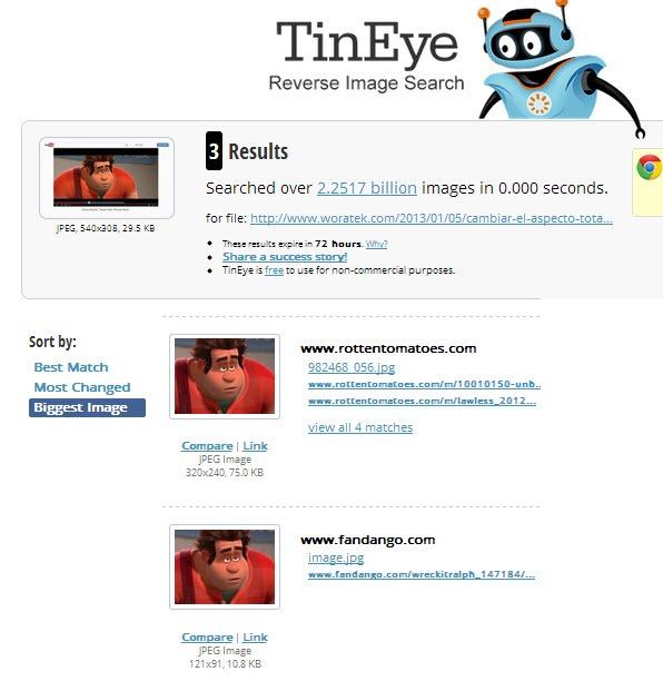 TinEye, detectar fotos robadas, su procedencia y cambios que ha tenido