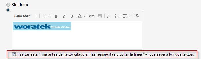 Firma de Gmail antes del texto citado de respuestas