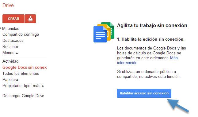 Como ver y editar documentos y presentaciones de Google Drive sin conexión a Internet