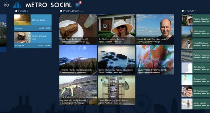 Facebook en Windows 8 con aplicación Metro Social