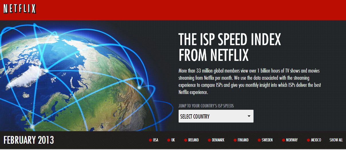 Netflix, medidor de internet banda ancha de proveedores de internet