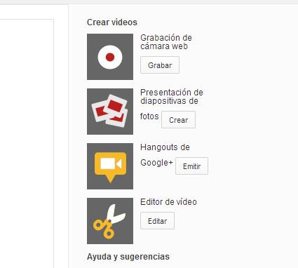 Crear presentación de diapositivas en YouTube
