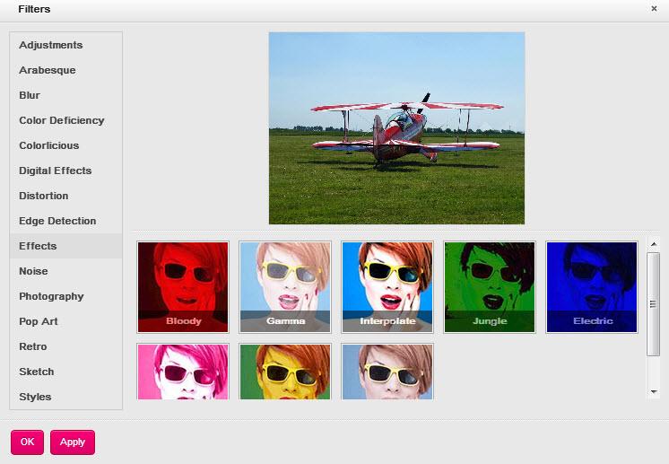 Efectos del editor de imágenes online