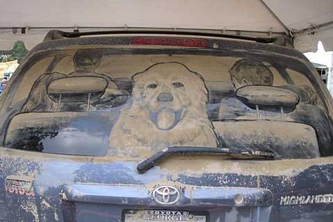 Obras de arte en ventanas del coche