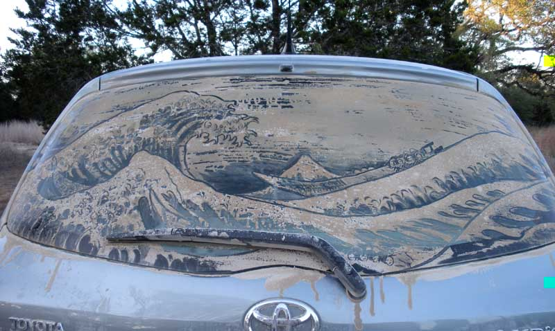 Obras de arte en polvo de ventanas del auto