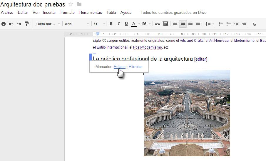 Google Docs, marcadores de párrafos en texto