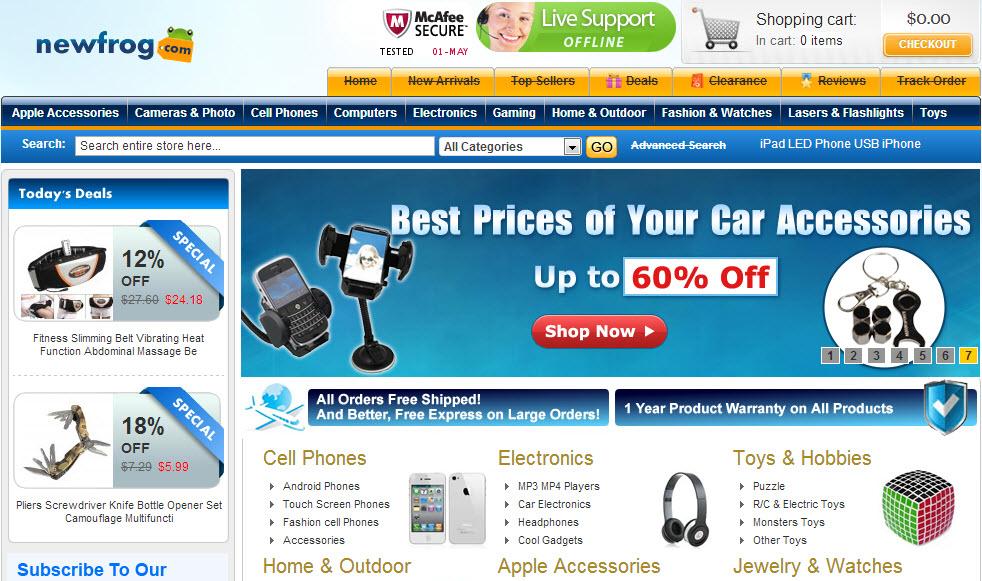 Newfrog, tienda de compras online