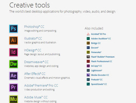 Adobe creative cloud alquilar aplicaciones