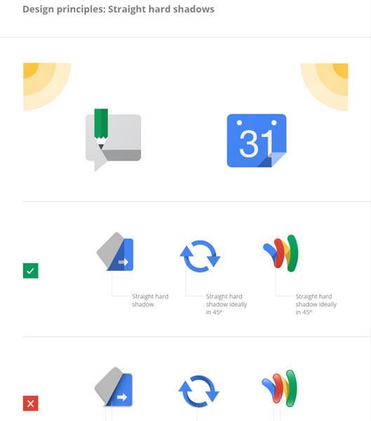 Diseño de logos de Google, sombras