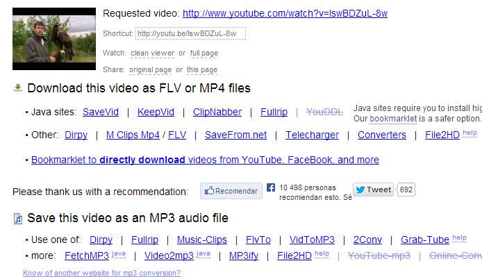Descargar  videos de youtube en varios formatos