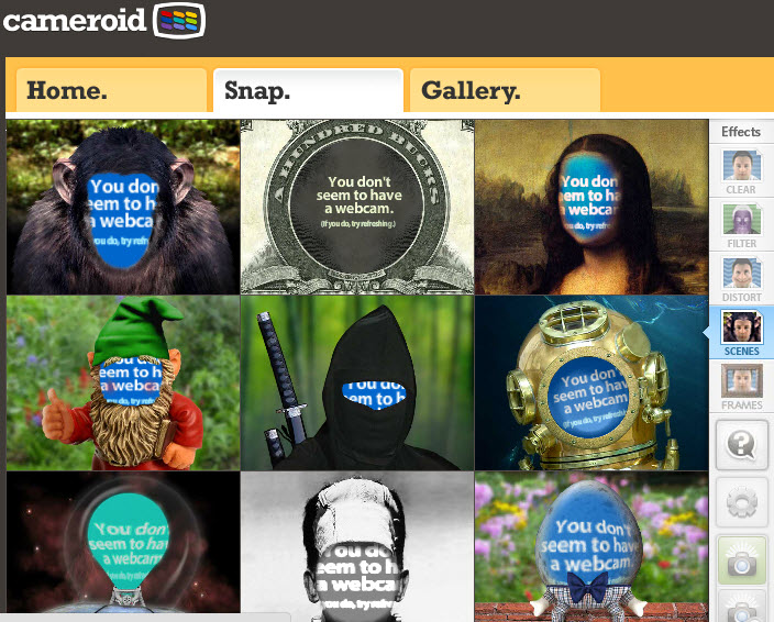 Efectos webcam con Cameroid con efectos especiales