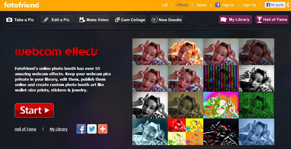 Efectos webcam desde la web con Fotofriend