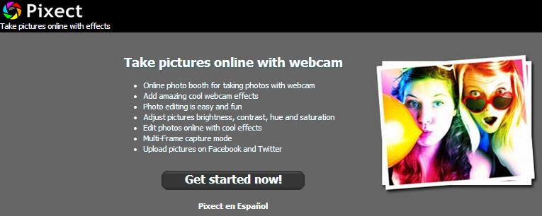 Efectos webcam con aplicación online  Pixect