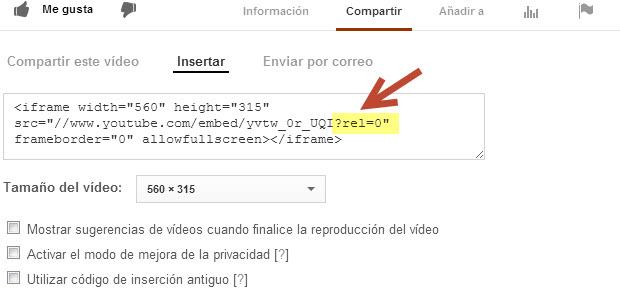 Desactivar  videos relacionados en YouTube
