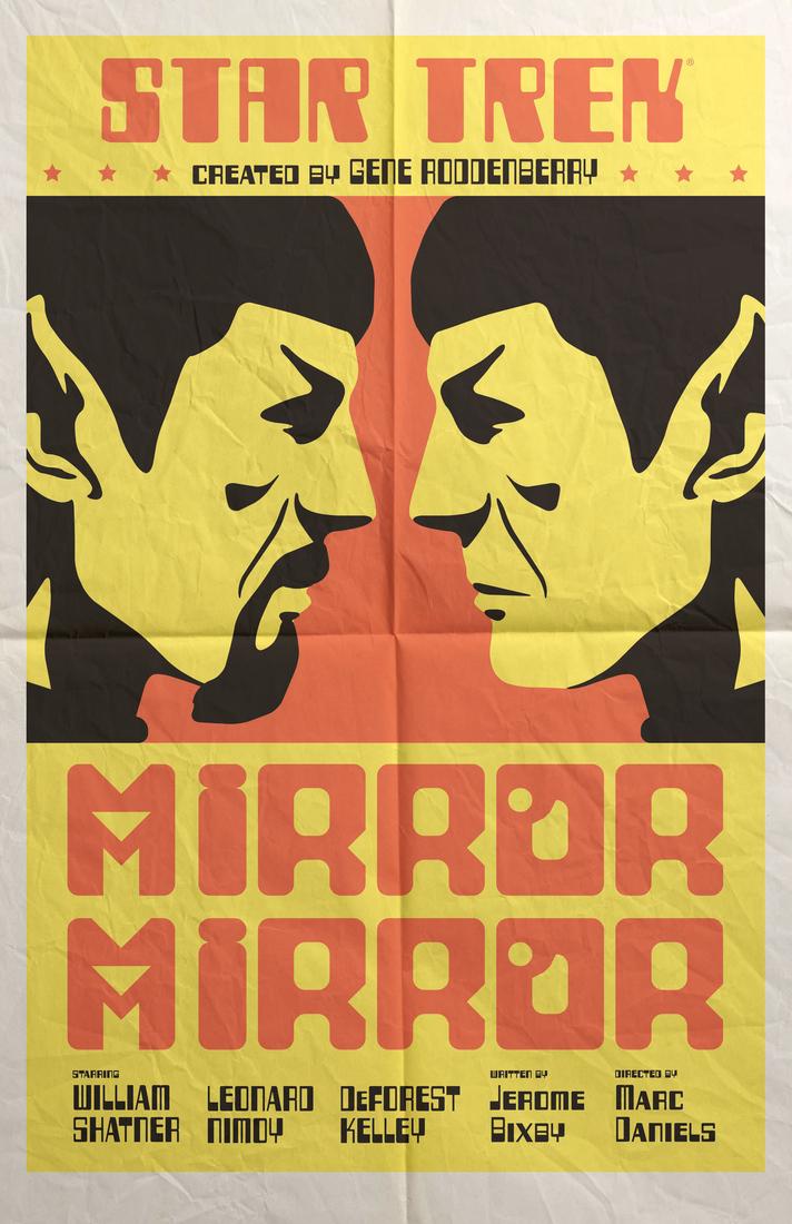 Posters clásico de Star trek en colores amarillo y rojo