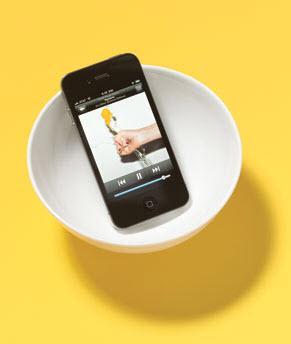 Tazón como altavoz para teléfonos celulares