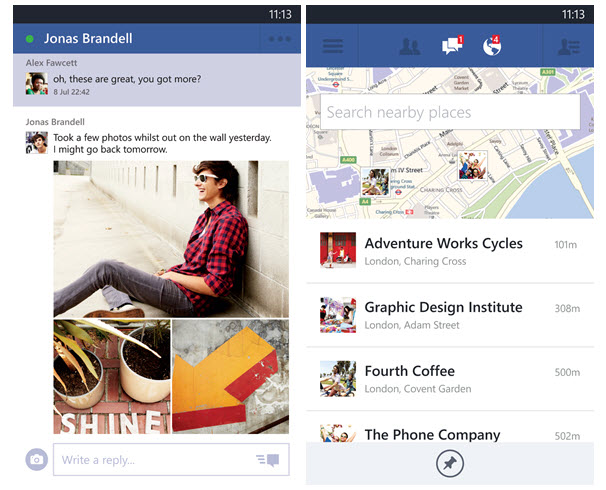 Facebook para Windows Phone actualización