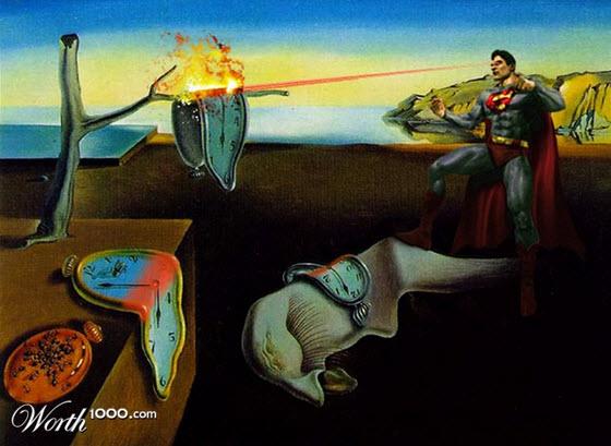 Pintura de Salvador  Dali modificada con Superman