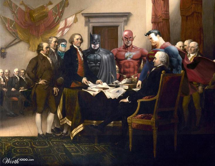 Pintura declaración de la independencia versión