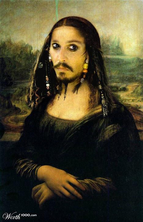 Pintura del capitan Jack Sparrow como Gioconda de Da vinci
