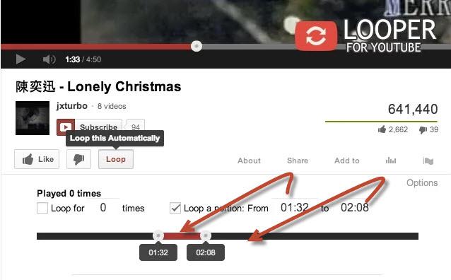 Repetir secciones  de forma automática de video de YouTube