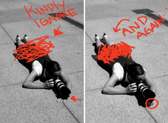 Tomando fotos echado en el piso