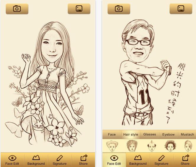 Aplicación para convertir fotos en caricaturas