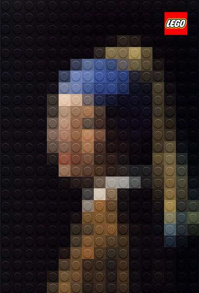 La joven de la perla de Johannes Vermeer en Lego