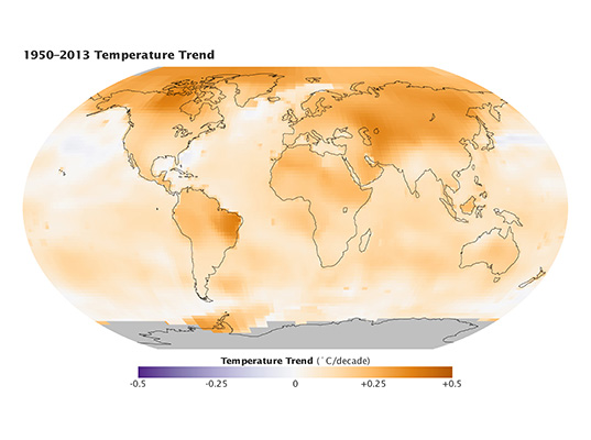 Calentamiento global 1950 al 2013 mapa tendencias