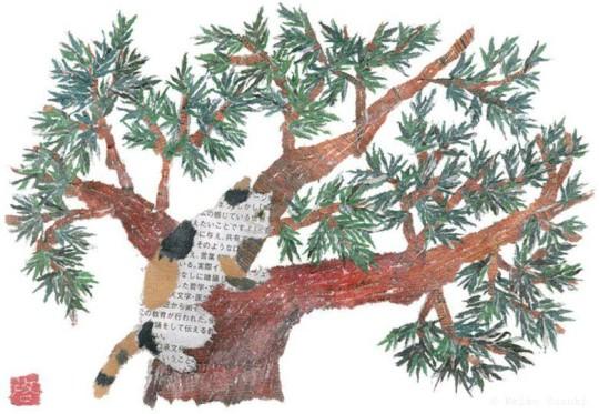 Collage hecho de papel reciclado, gato trepa árbol