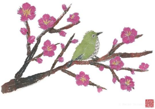 Collage hecho de periódicos reciclados, árbol floreando con pájaro